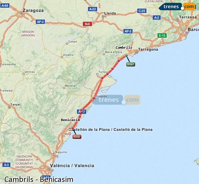 Enlarge map Trains Cambrils to Benicasim