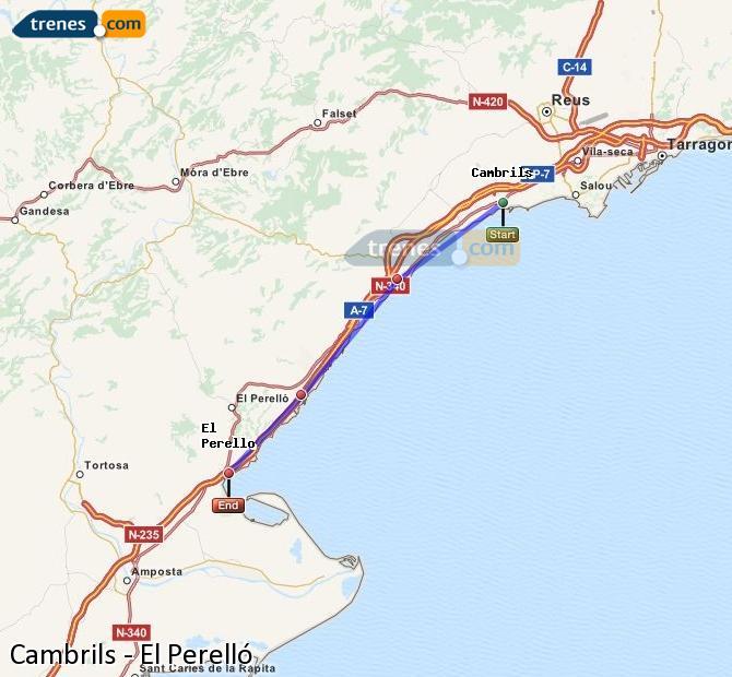 Ampliar mapa Trenes Cambrils El Perelló