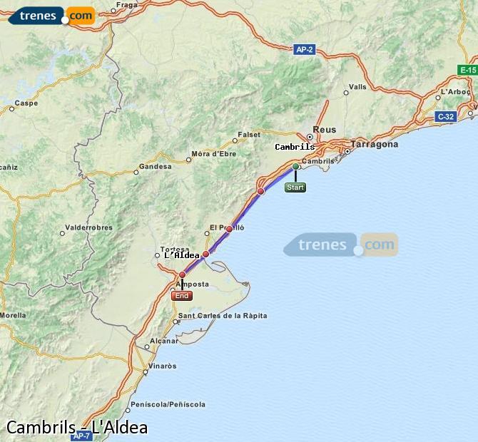 Karte vergrößern Züge Cambrils L'Aldea