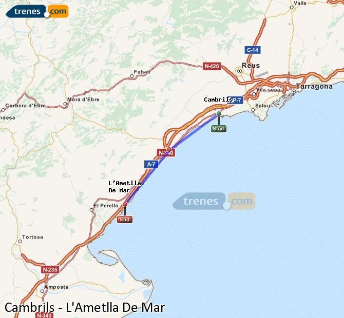 Agrandir la carte Trains Cambrils L'Ametlla De Mar