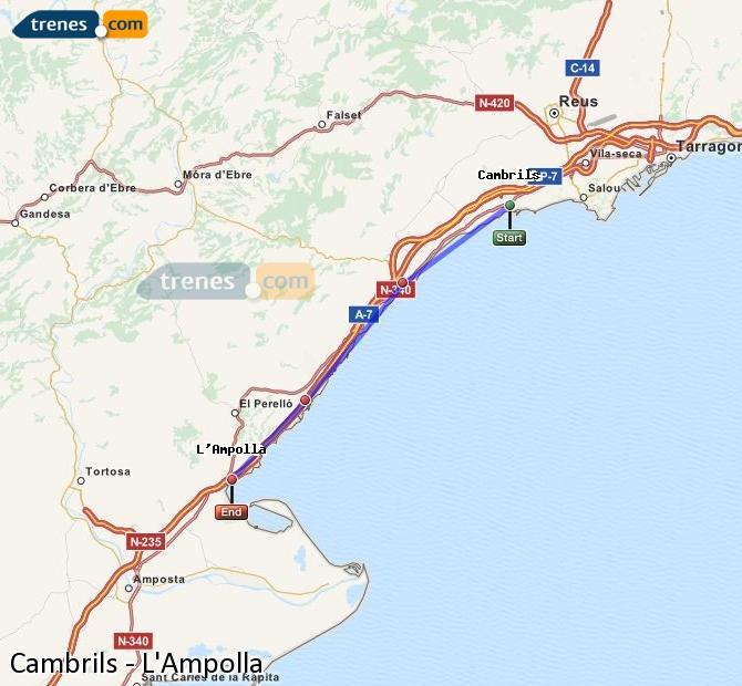 Ampliar mapa Trenes Cambrils L'Ampolla