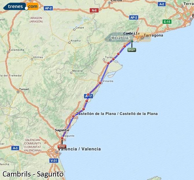 Enlarge map Trains Cambrils to Sagunto