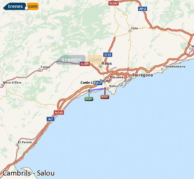 Enlarge map Trains Cambrils to Salou
