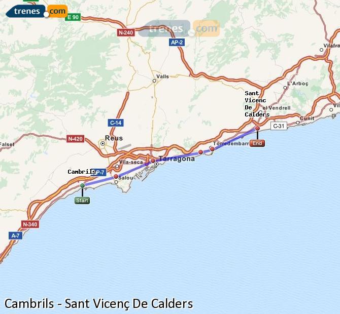 Enlarge map Trains Cambrils to Sant Vicenç De Calders