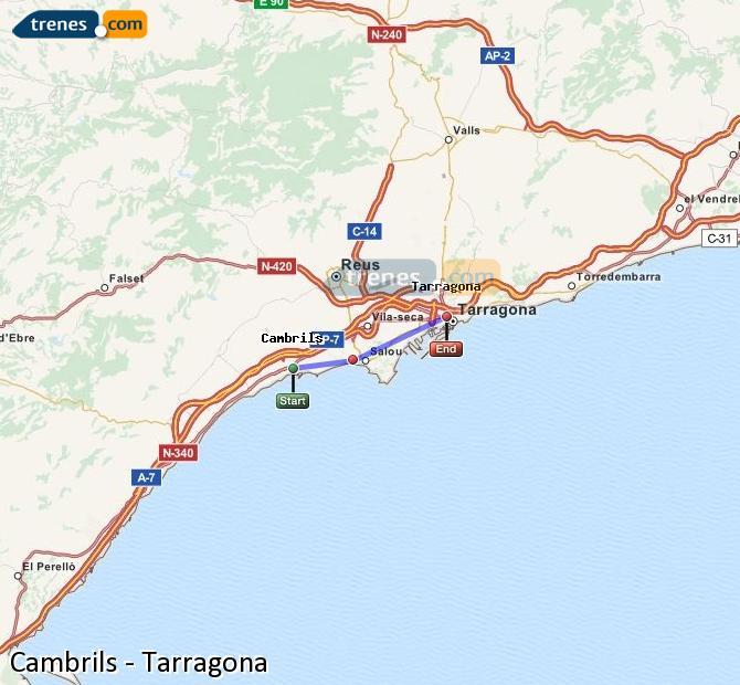 Karte vergrößern Züge Cambrils Tarragona