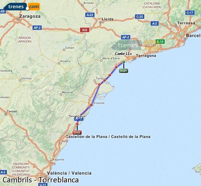 Ingrandisci la mappa Treni Cambrils Torreblanca