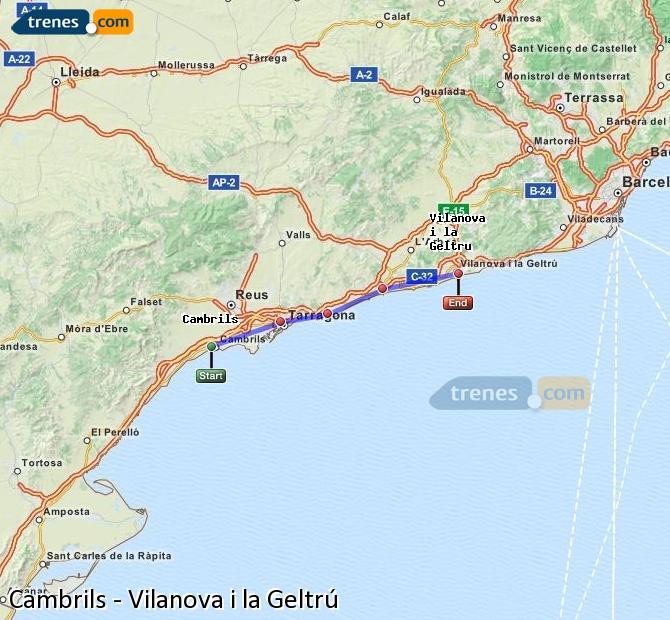 Agrandir la carte Trains Cambrils Vilanova i la Geltrú