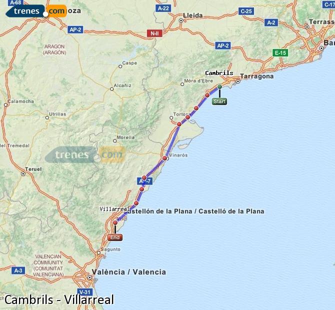 Agrandir la carte Trains Cambrils Villarreal