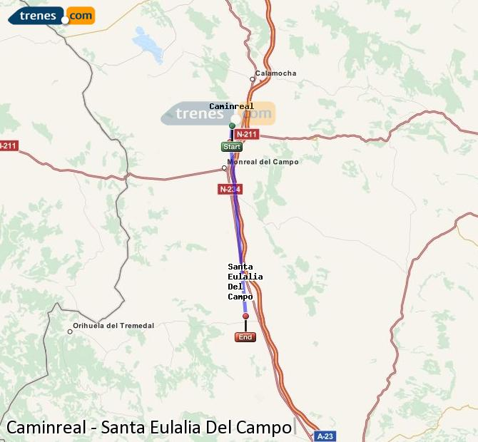 Agrandir la carte Trains Caminreal Santa Eulalia Del Campo