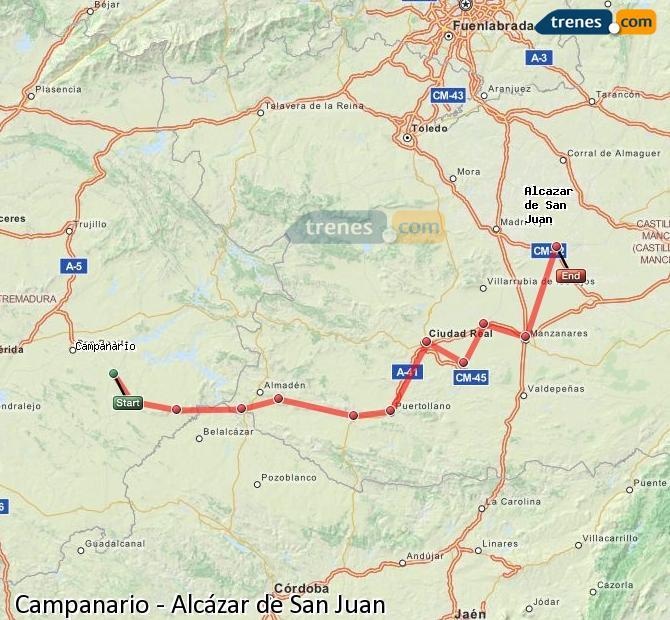 Enlarge map Trains Campanario to Alcazar de San Juan