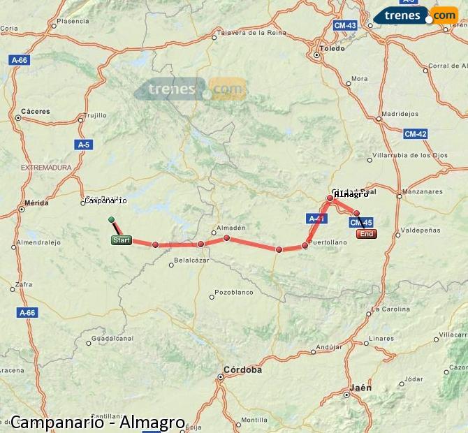 Ingrandisci la mappa Treni Campanario Almagro