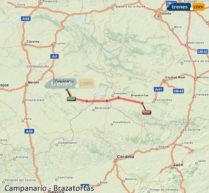 Ampliar mapa Comboios Campanario Brazatortas