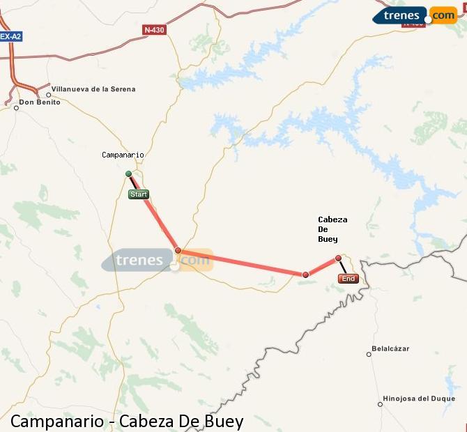 Ingrandisci la mappa Treni Campanario Cabeza De Buey