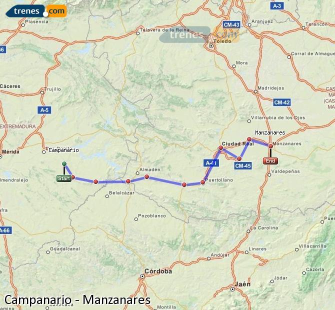 Ingrandisci la mappa Treni Campanario Manzanares