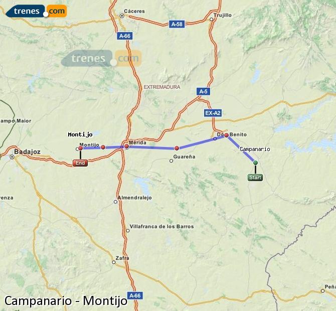 Agrandir la carte Trains Campanario Montijo