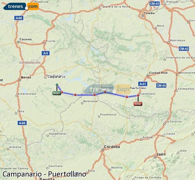 Ampliar mapa Comboios Campanario Puertollano