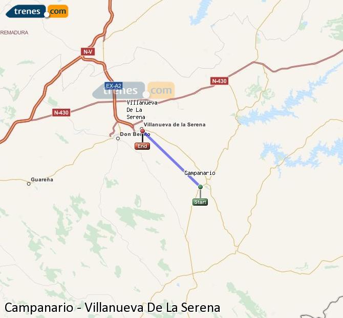 Enlarge map Trains Campanario to Villanueva De La Serena