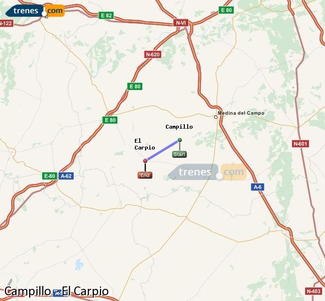 Enlarge map Trains Campillo to El Carpio