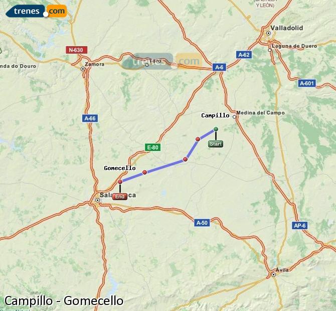 Enlarge map Trains Campillo to Gomecello