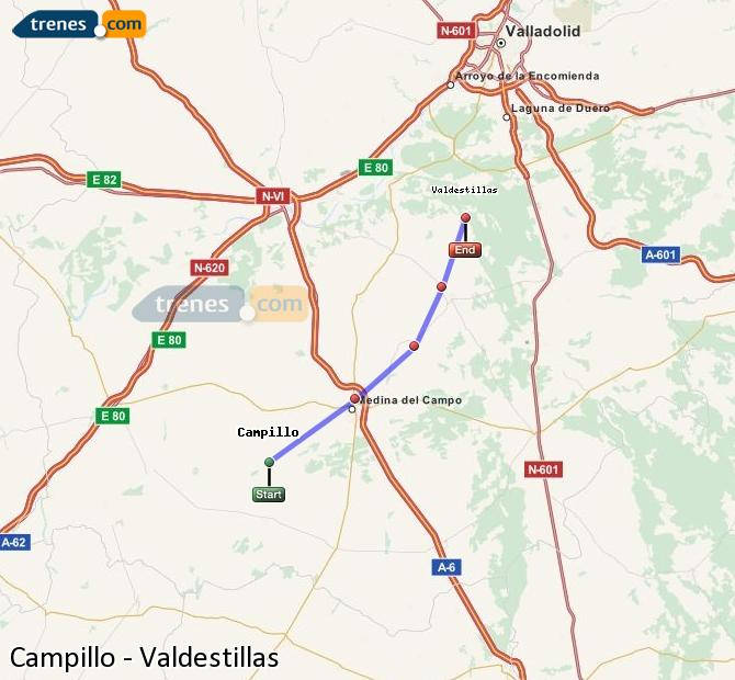 Enlarge map Trains Campillo to Valdestillas