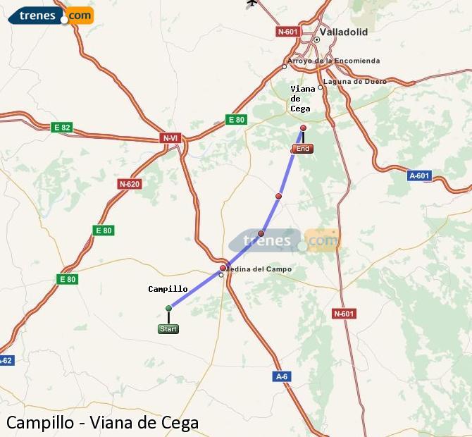 Enlarge map Trains Campillo to Viana de Cega