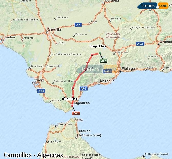 Enlarge map Trains Campillos to Algeciras