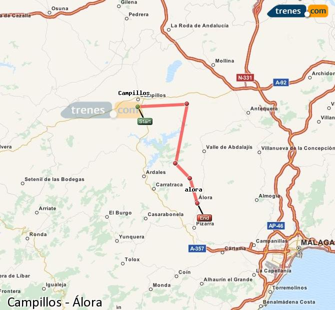 Enlarge map Trains Campillos to Álora