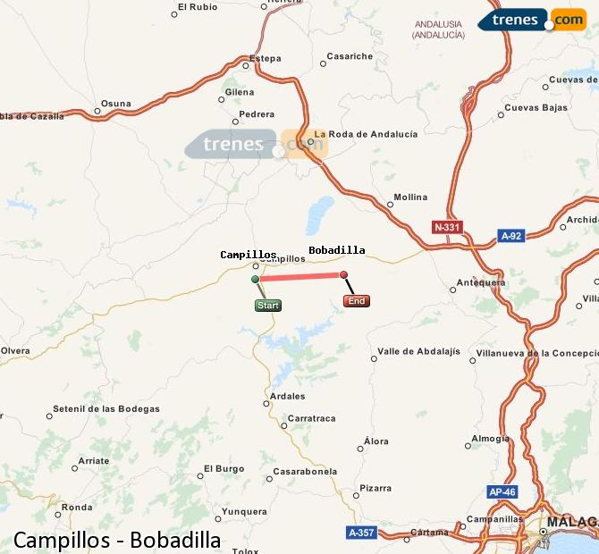 Agrandir la carte Trains Campillos Bobadilla