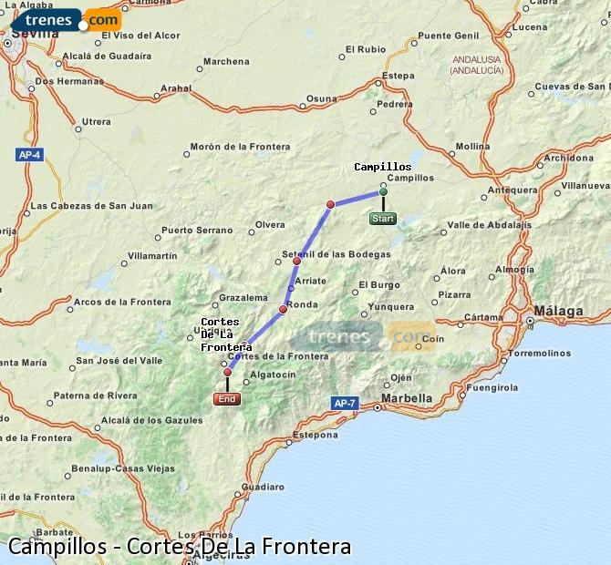 Enlarge map Trains Campillos to Cortes De La Frontera