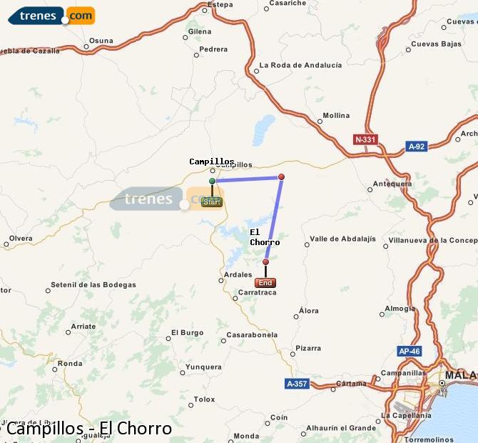 Karte vergrößern Züge Campillos El Chorro