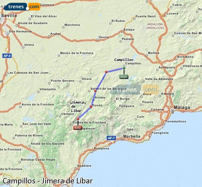 Agrandir la carte Trains Campillos Jimera de Líbar