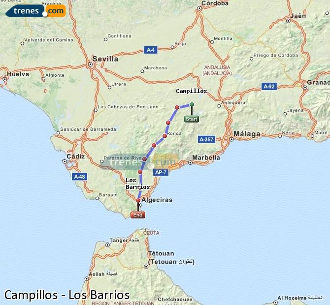Enlarge map Trains Campillos to Los Barrios