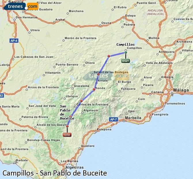 Agrandir la carte Trains Campillos San Pablo de Buceite