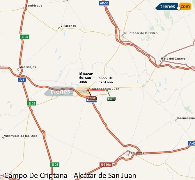 Enlarge map Trains Campo De Criptana to Alcazar de San Juan