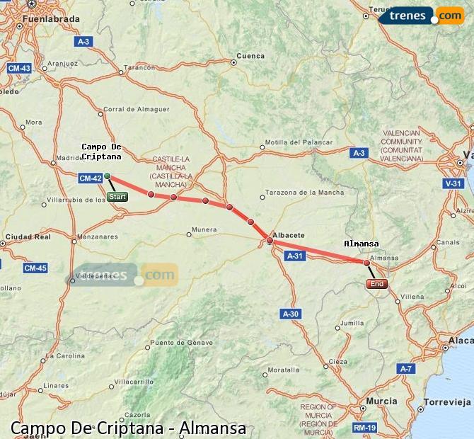 Enlarge map Trains Campo De Criptana to Almansa