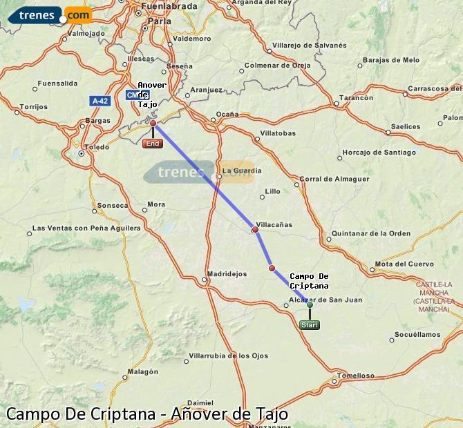 Agrandir la carte Trains Campo De Criptana Añover de Tajo
