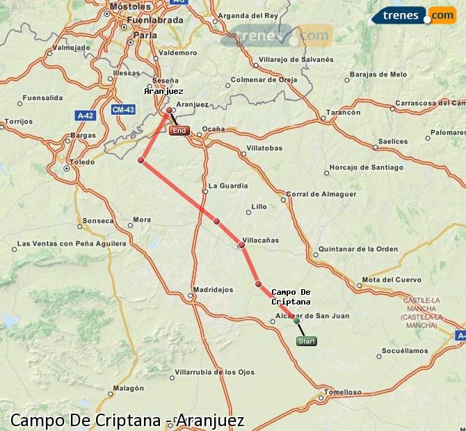 Agrandir la carte Trains Campo De Criptana Aranjuez