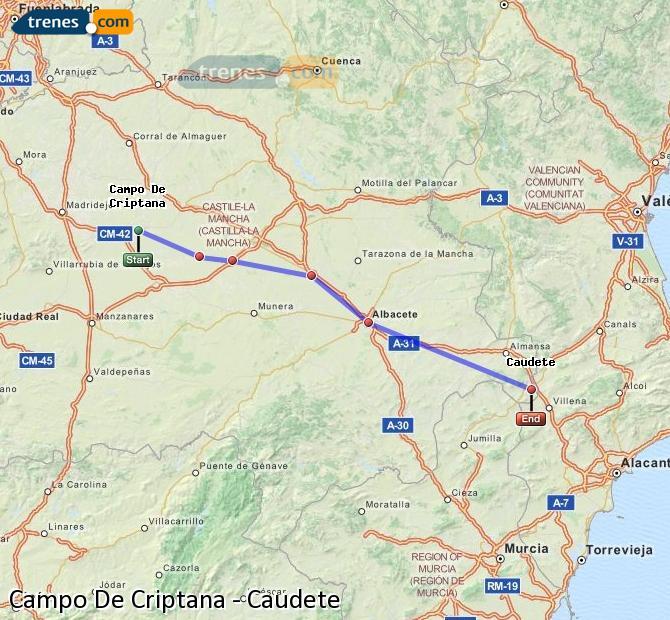 Ingrandisci la mappa Treni Campo De Criptana Caudete