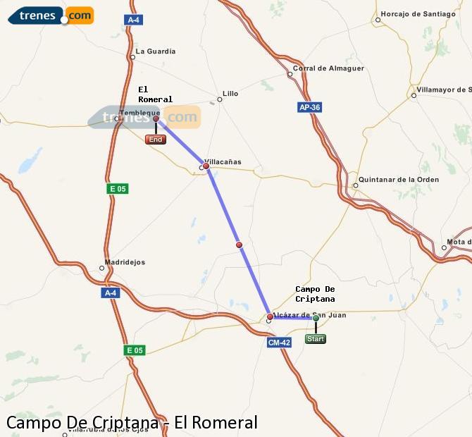Agrandir la carte Trains Campo De Criptana El Romeral