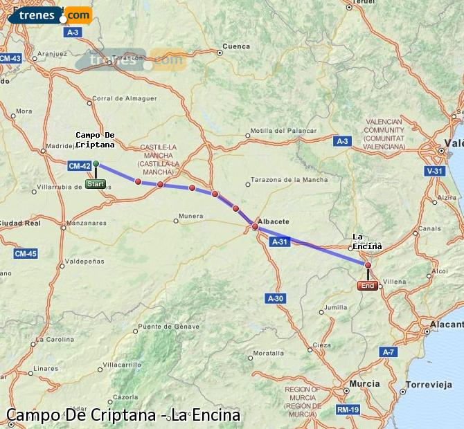Ingrandisci la mappa Treni Campo De Criptana La Encina