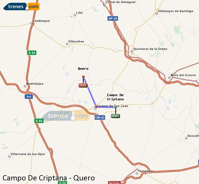 Enlarge map Trains Campo De Criptana to Quero
