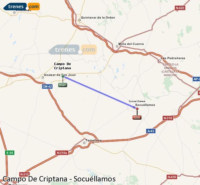 Agrandir la carte Trains Campo De Criptana Socuéllamos