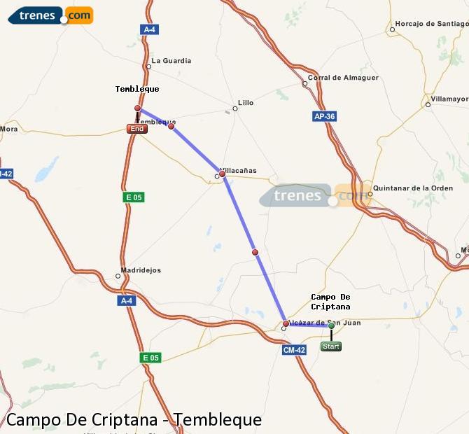 Enlarge map Trains Campo De Criptana to Tembleque