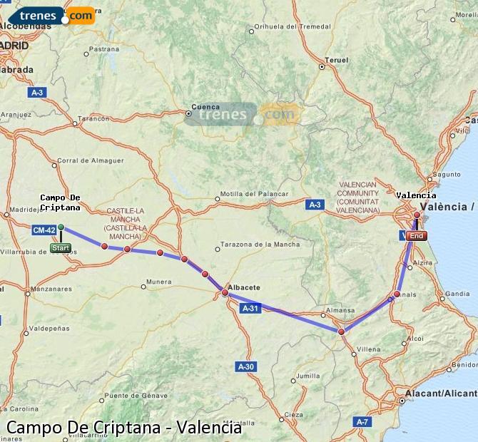 Enlarge map Trains Campo De Criptana to Valencia