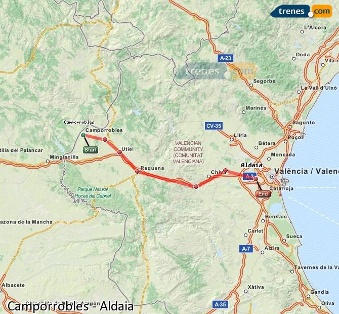 Ingrandisci la mappa Treni Camporrobles Aldaia