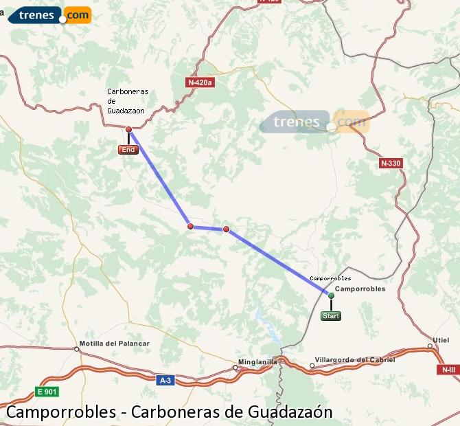 Enlarge map Trains Camporrobles to Carboneras of Guadazaón