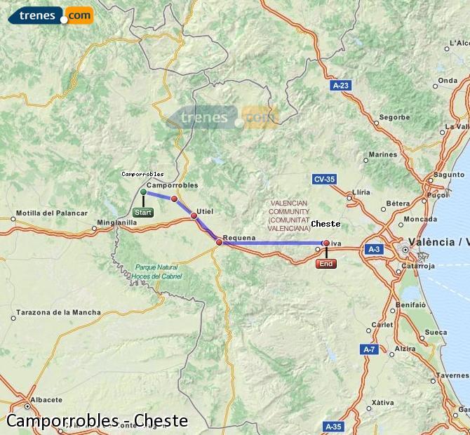 Ampliar mapa Comboios Camporrobles Cheste