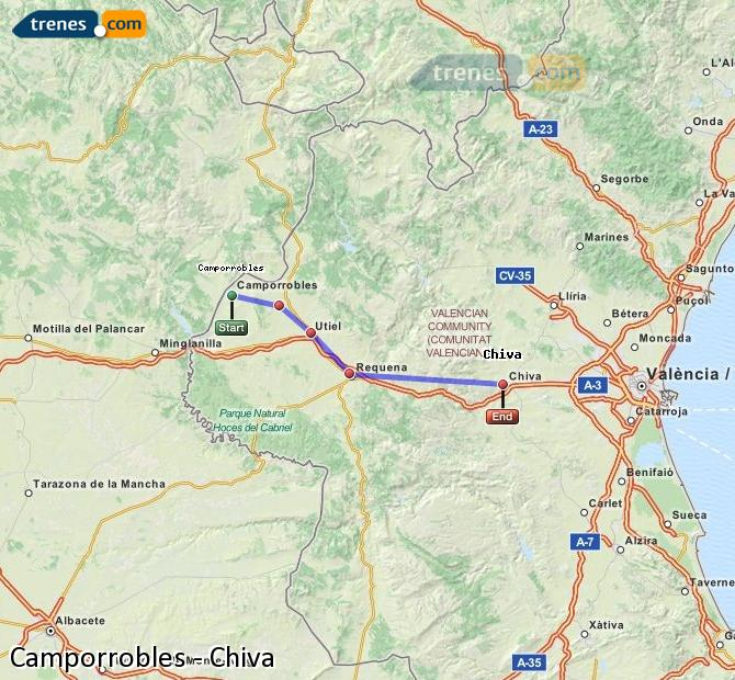 Enlarge map Trains Camporrobles to Chiva