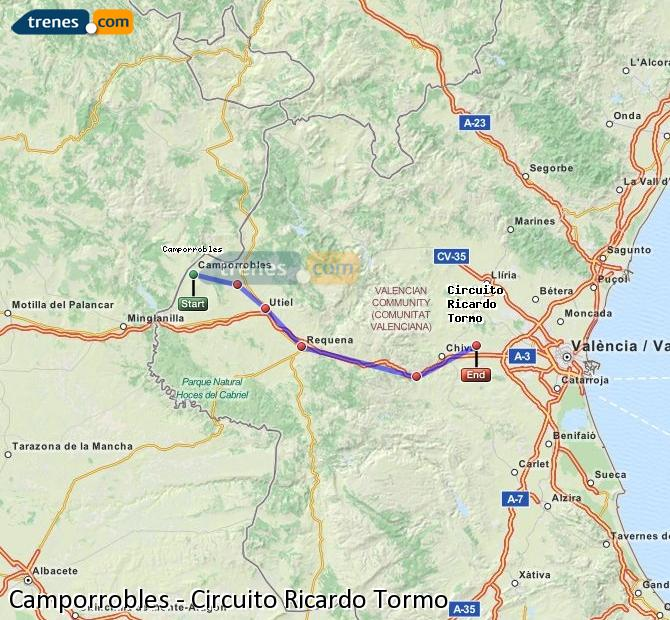 Ampliar mapa Comboios Camporrobles Circuito Ricardo Tormo