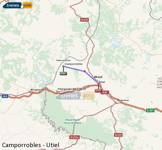 Enlarge map Trains Camporrobles to Utiel